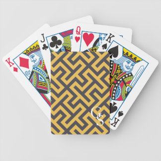 Bold yellow greek key geometric patterns monogram bicycle playing cards