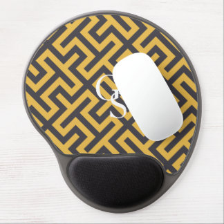 Bold yellow greek key geometric patterns monogram gel mouse pad