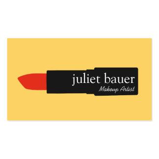 Bold Yellow Modern Makeup Artist Lipstick Beauty Pack Of Standard Business Cards