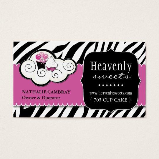 Bold Zebra Print Bakery Business Card