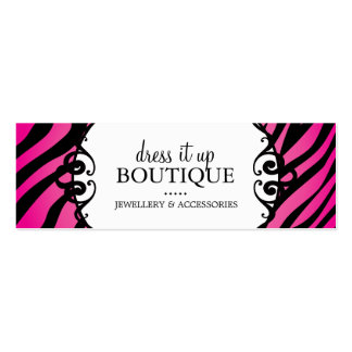 Bold Zebra Print Jewellery Designer Hang Tags Business Card Template
