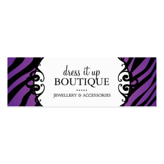 Bold Zebra Print Jewellery Designer Hang Tags Pack Of Skinny Business Cards