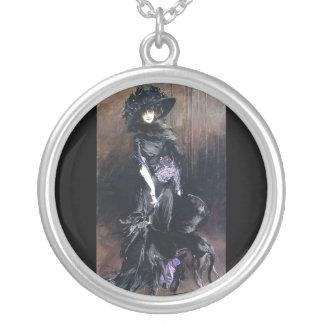 Boldini greyhound dog woman extravagant round pendant necklace