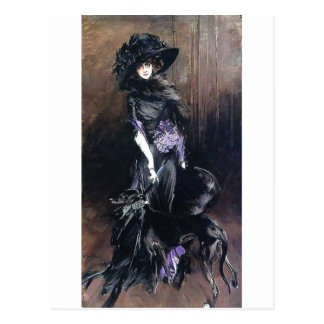 boldini woman and dog greyhound postcard