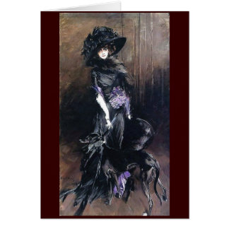 Boldini Woman Greyhound dog black dress fine art Card