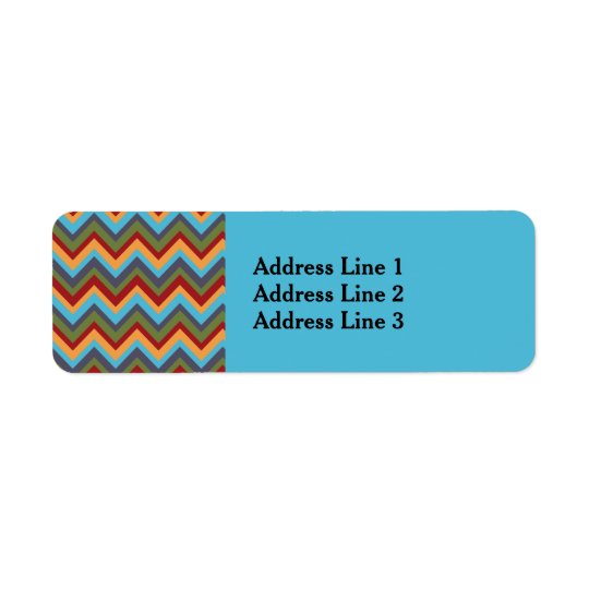 Boldly Coloured Chevron on Baby Blue Address Label