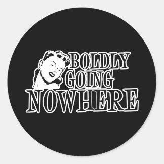Boldly Going NOWHERE Retro Lady B&W Stickers
