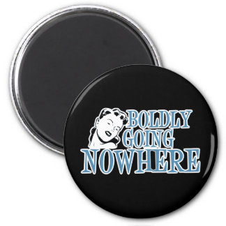 Boldly Going NOWHERE Retro Lady Blue 6 Cm Round Magnet