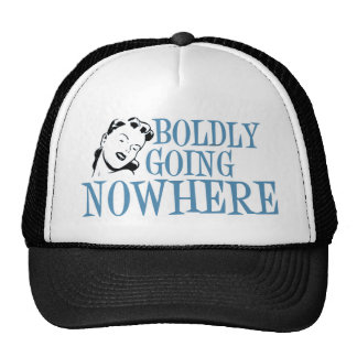 Boldly Going NOWHERE Retro Lady Blue Trucker Hats