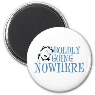 Boldly Going NOWHERE Retro Lady Blue Fridge Magnet
