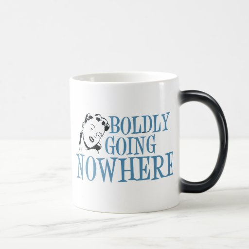 Boldly Going NOWHERE Retro Lady Blue Coffee Mugs