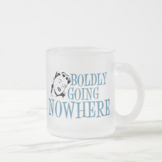 Boldly Going NOWHERE Retro Lady Blue Coffee Mugs