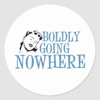 Boldly Going NOWHERE Retro Lady Blue Round Sticker