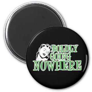 Boldly Going NOWHERE Retro Lady Green 6 Cm Round Magnet