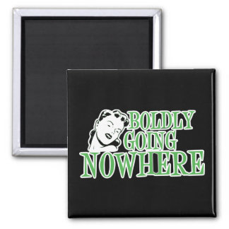 Boldly Going NOWHERE Retro Lady Green Square Magnet
