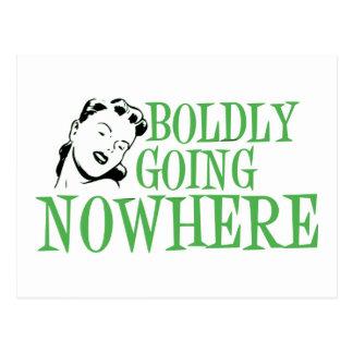 Boldly Going NOWHERE Retro Lady Green Postcard
