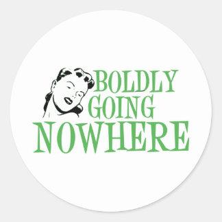 Boldly Going NOWHERE Retro Lady Green Round Sticker