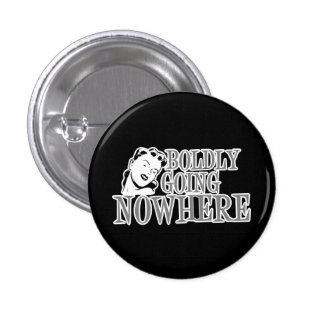 Boldly Going NOWHERE Retro Lady Grey 3 Cm Round Badge