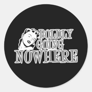 Boldly Going NOWHERE Retro Lady Grey Round Stickers