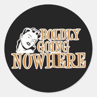 Boldly Going NOWHERE Retro Lady Orange Round Sticker
