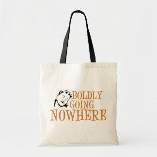Boldly Going NOWHERE Retro Lady Orange Budget Tote Bag