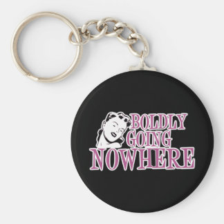 Boldly Going NOWHERE Retro Lady Pink Key Ring