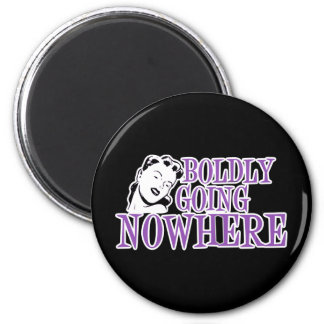 Boldly Going NOWHERE Retro Lady Purple 6 Cm Round Magnet