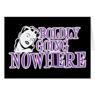 Boldly Going NOWHERE Retro Lady Purple Greeting Cards