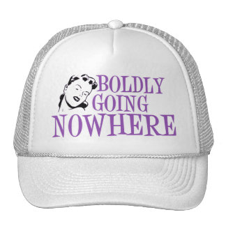 Boldly Going NOWHERE Retro Lady Purple Trucker Hats
