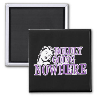 Boldly Going NOWHERE Retro Lady Purple Square Magnet