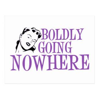 Boldly Going NOWHERE Retro Lady Purple Postcard