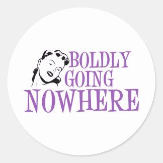 Boldly Going NOWHERE Retro Lady Purple Round Sticker
