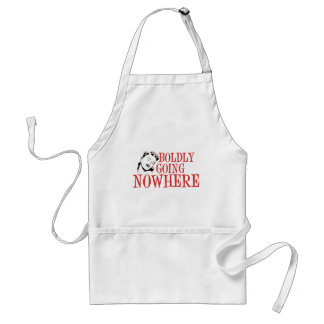 Boldly Going NOWHERE Retro Lady Red Adult Apron