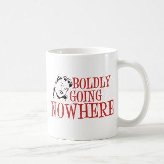 Boldly Going NOWHERE Retro Lady Red Basic White Mug