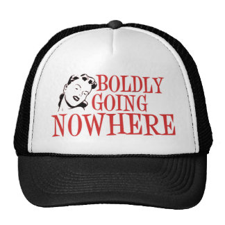 Boldly Going NOWHERE Retro Lady Red Mesh Hats