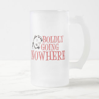 Boldly Going NOWHERE Retro Lady Red Coffee Mugs