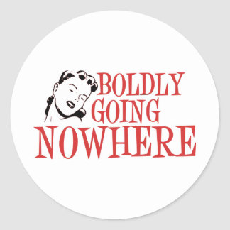 Boldly Going NOWHERE Retro Lady Red Round Sticker