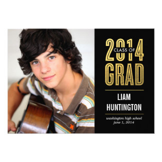 Boldly Proud Graduation Invitation - Black Personalized Invitations