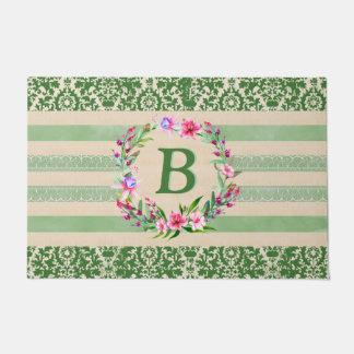 Boldly Romantic Floral Monogram Doormat (Green)