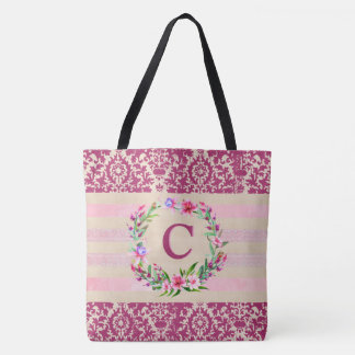 Boldly Romantic Floral Monogram Tote (Wine)