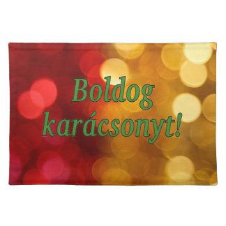 Boldog karácsonyt! Merry Christmas in Hungarian gf Cloth Place Mat