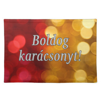 Boldog karácsonyt! Merry Christmas in Hungarian wf Cloth Placemat