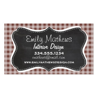 Bole Brown Gingham Checkered Retro Chalkboard Business Card Templates