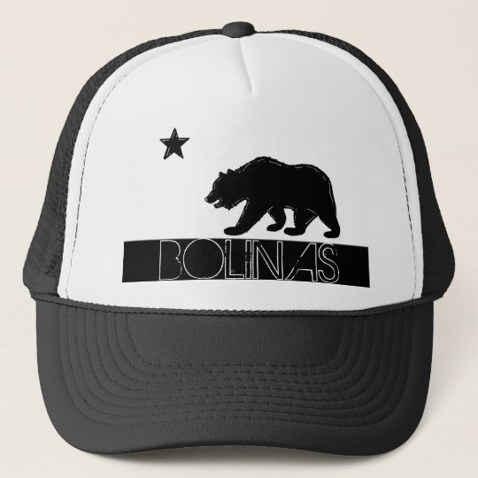 Bolinas California black white bear flag hat