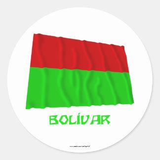 Bolívar waving flag with Name Round Sticker