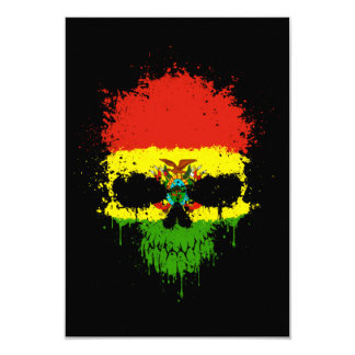 Bolivia Dripping Splatter Skull Personalized Announcements