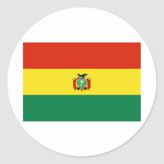 Bolivia Flag BO Round Sticker