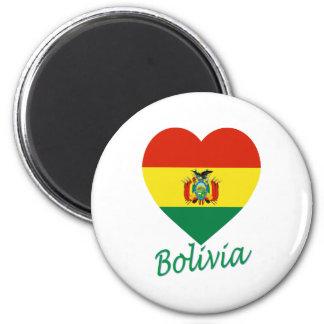 Bolivia Flag Heart 6 Cm Round Magnet
