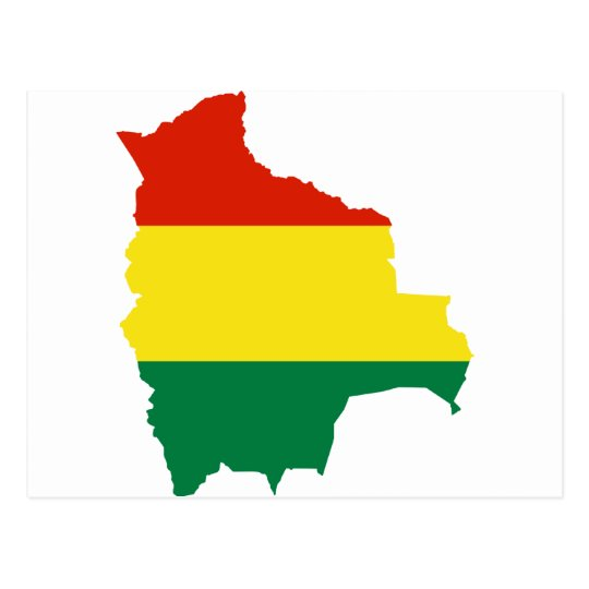 Bolivia Flag map BO Postcard