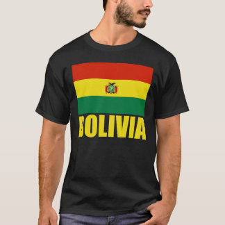 Bolivia Flag Yellow Text T-Shirt